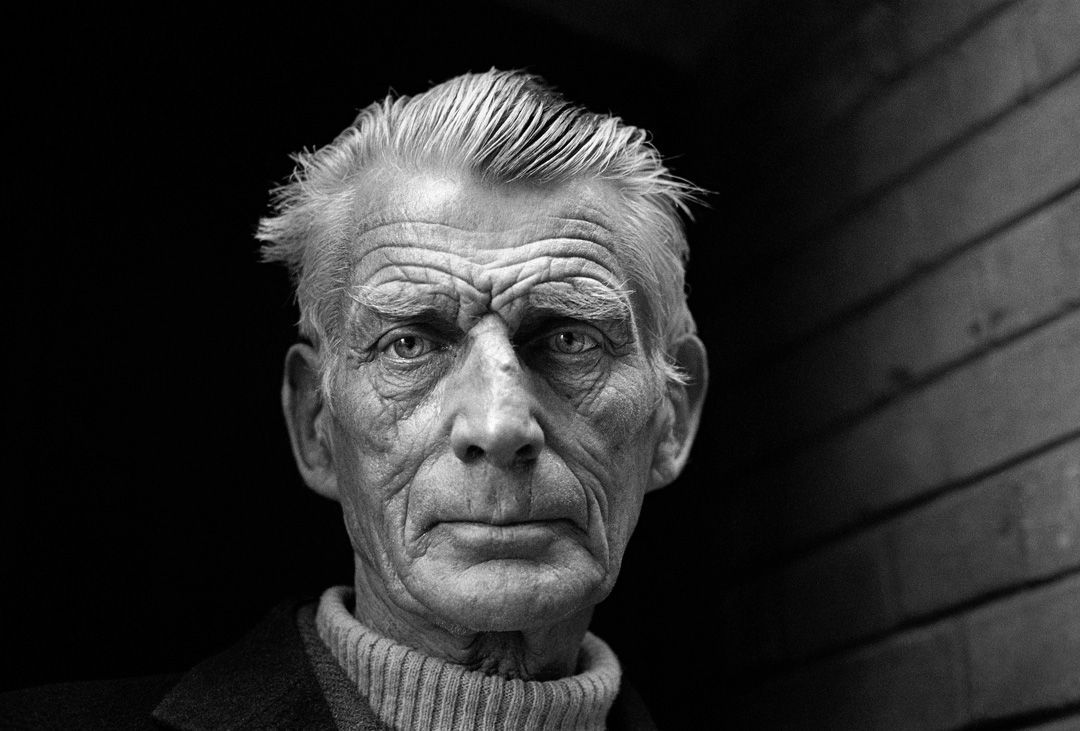 A black and white shot of playwright Samuel Beckett by famous photographer Jane Brown