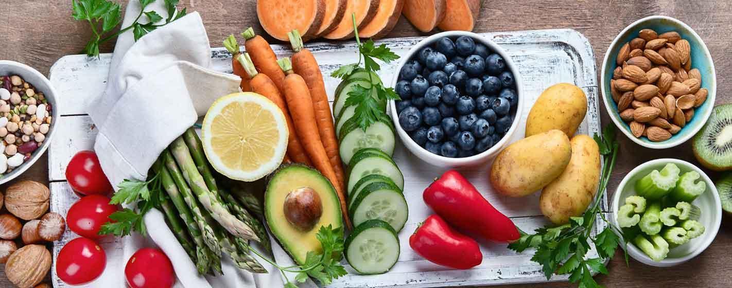 Best High Alkaline Foods. Vegan, alkaline diet concept. Panorama, banner. Top view