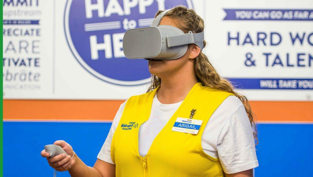 Walmart employee wearing Oculus Go VR headset