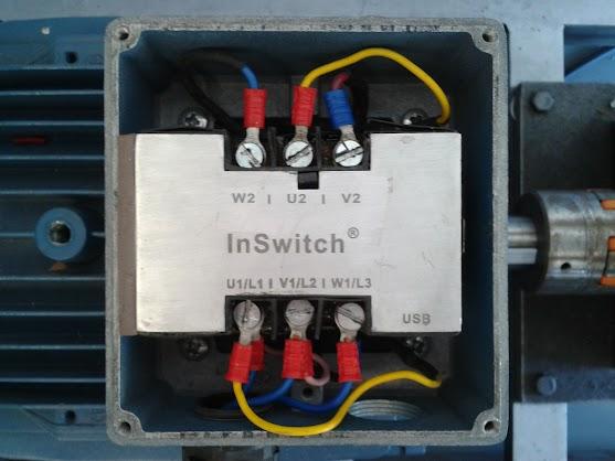 InSwitch instalado na caixa de terminais do motor.