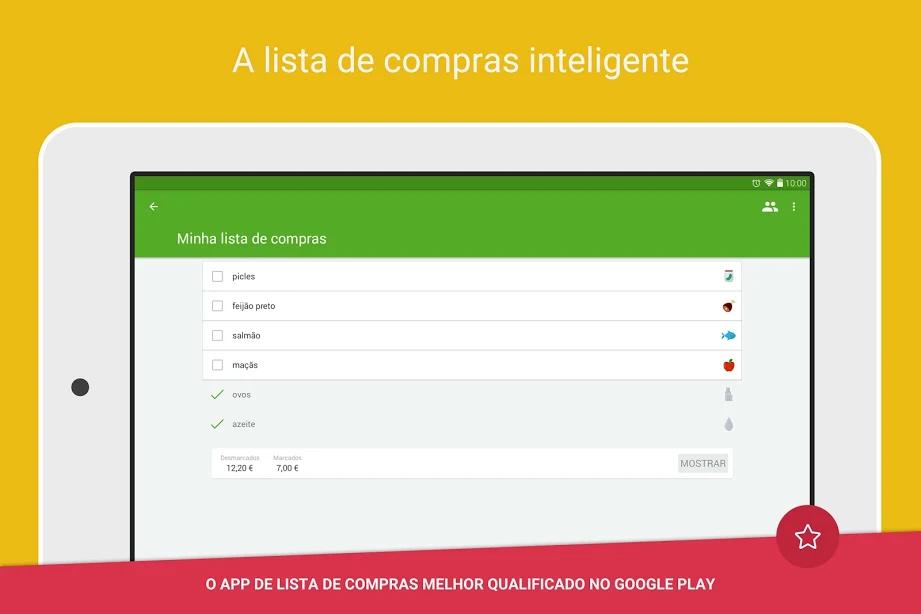 Captura de tela do Lista de Compras com um exemplo de lista.