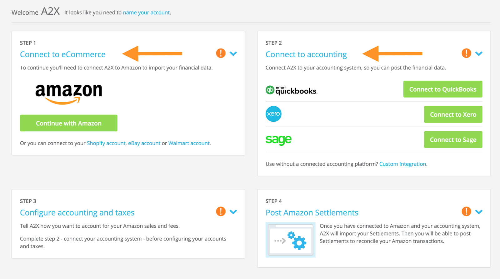 A2X dashboard to connect accounts