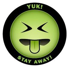 """[Bức ảnh là """"Mr. Yuk,"""" một màu xanh biểu tượng cảm xúc với cái nhìn chán ghét. Biểu tượng cảm xúc  có viền đen, với dòng chữ """"Yuk!"""" với """"Stay away!]"""