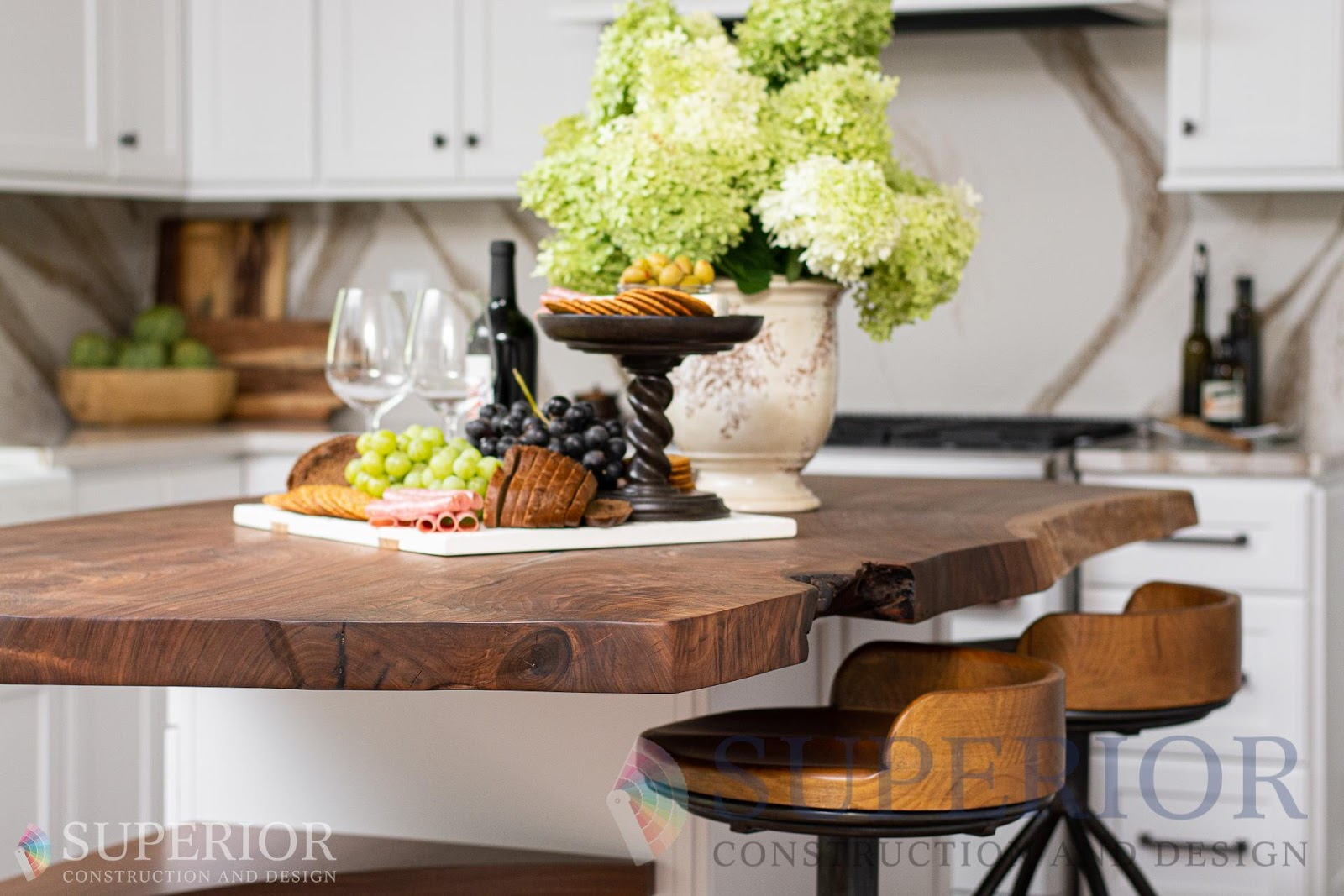 live edge kitchen island bar seating cambria quartz counters backsplash tn