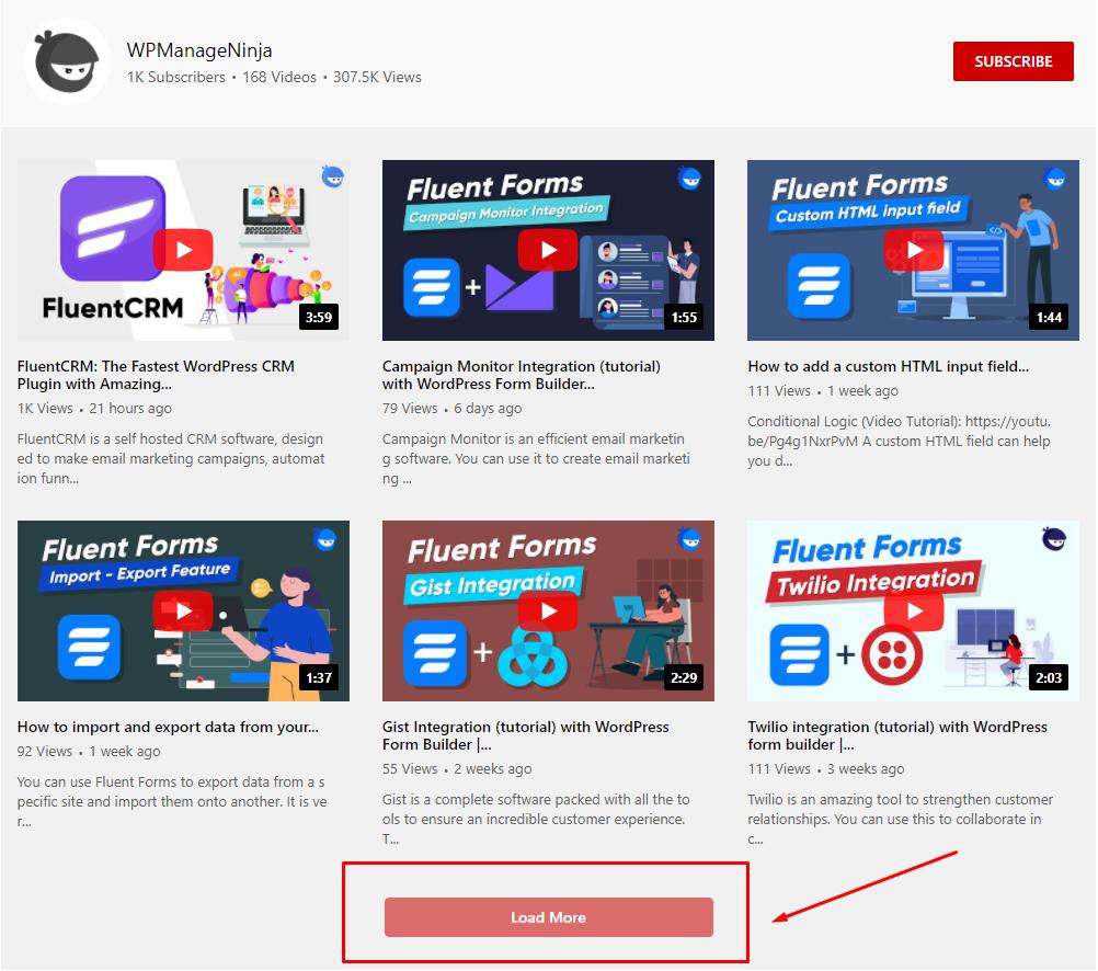 YouTube settings load more