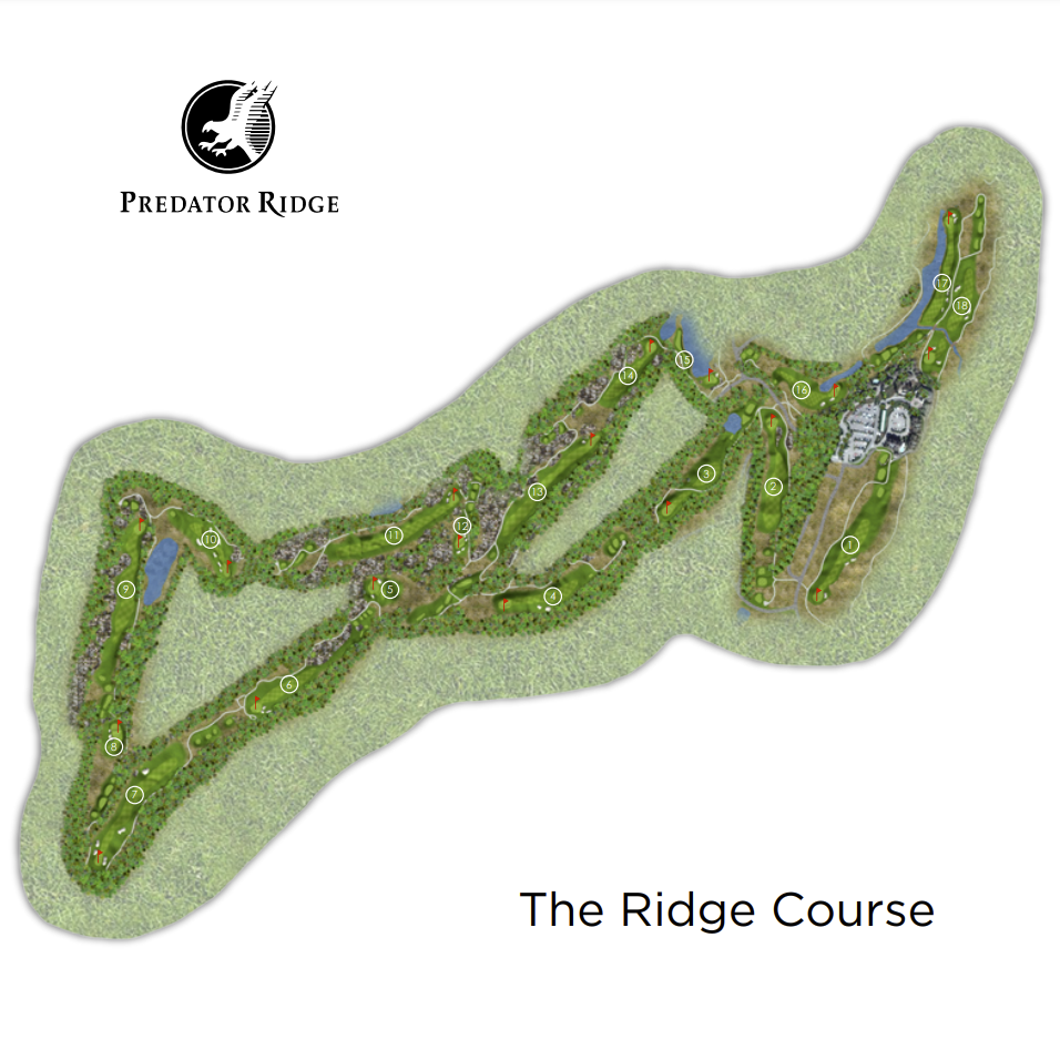 An illustrated map of The Ridge Course.