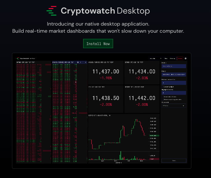 The cryptowatch desktop app showing stats on cryptocurrencies