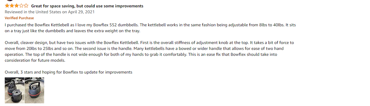 Buyer's review of Bowflex adjustable kettlebell handle