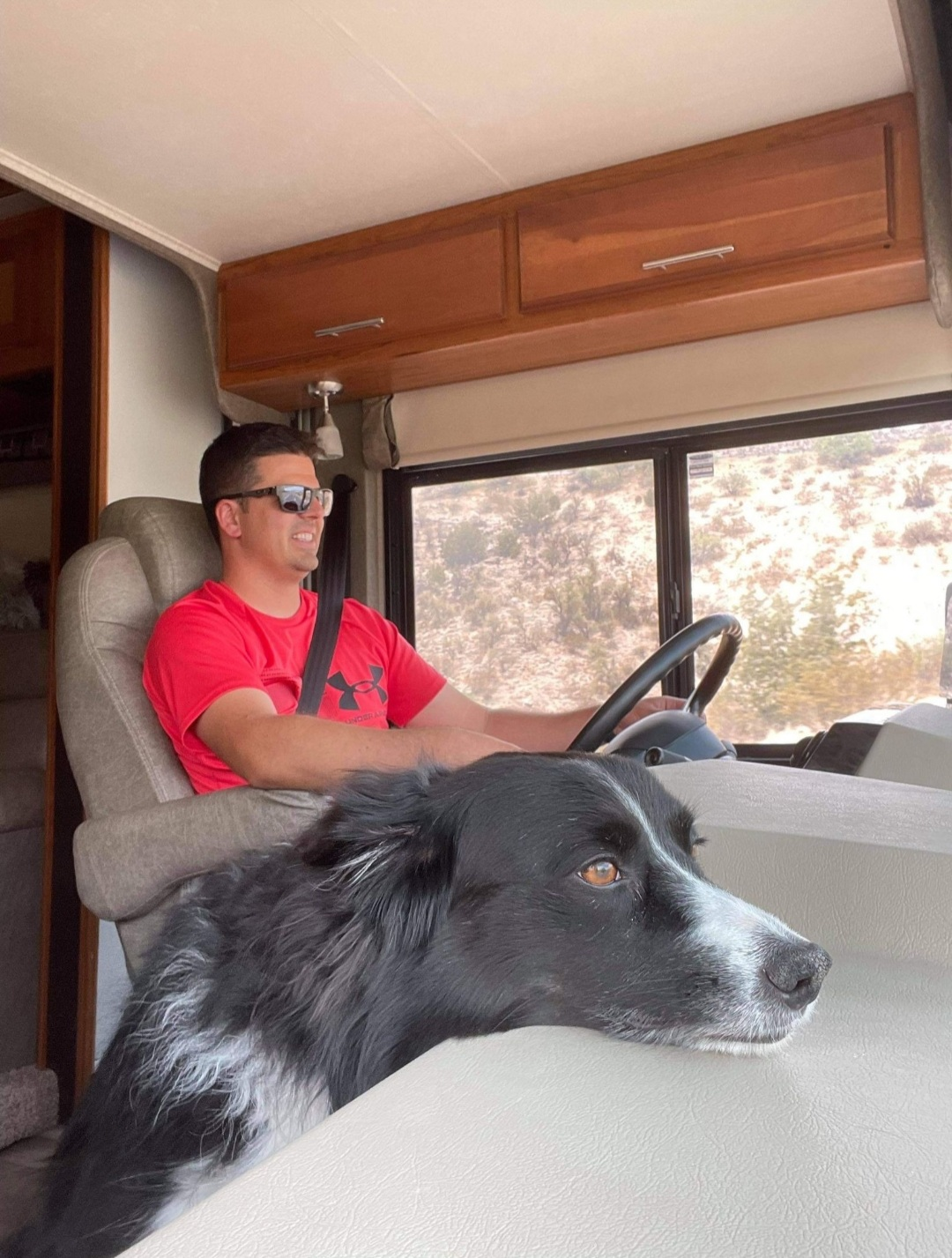 man driving an rv with his dog next to him