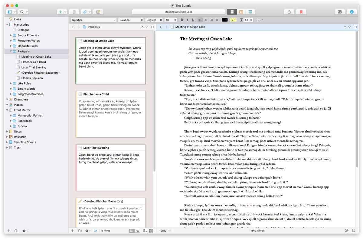 screenshot of Scrivener writing app interface
