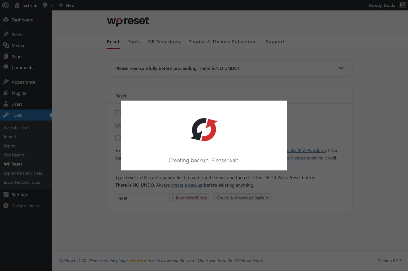 creating website backup