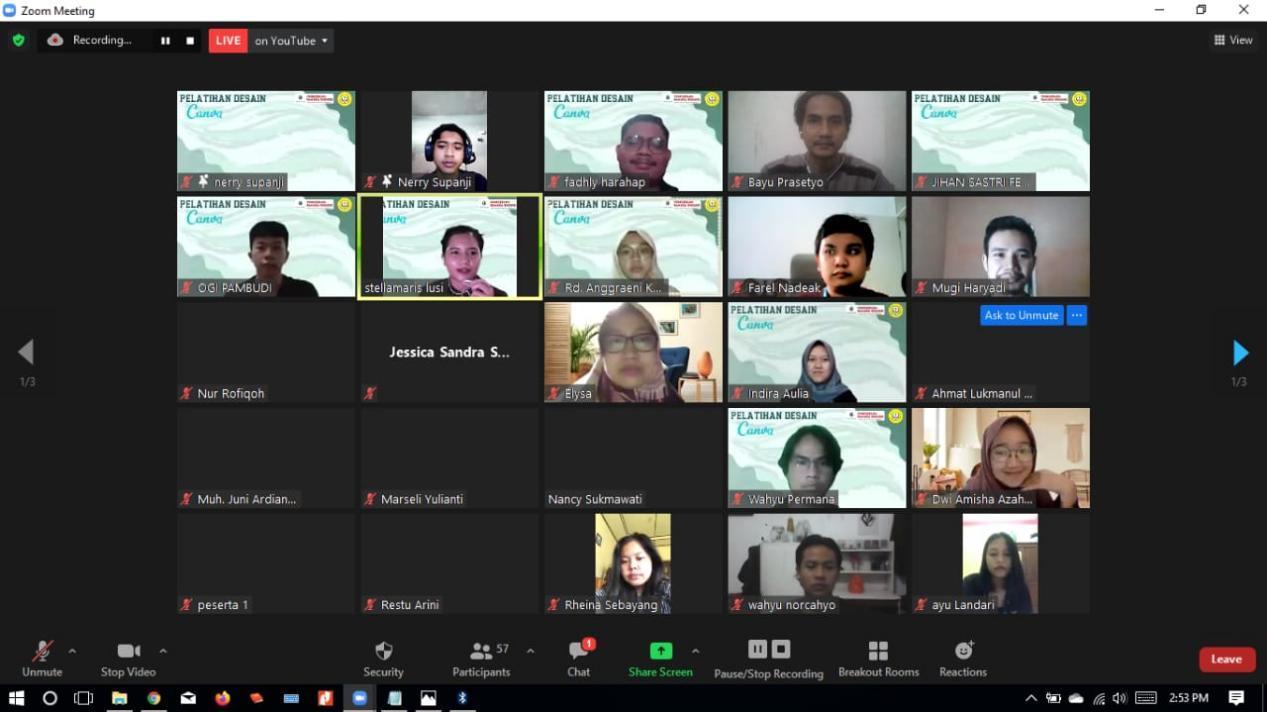 Webinar Pelatihan Desain oleh HMPS PBI UMBY melalui Zoom Meeting (27/06)