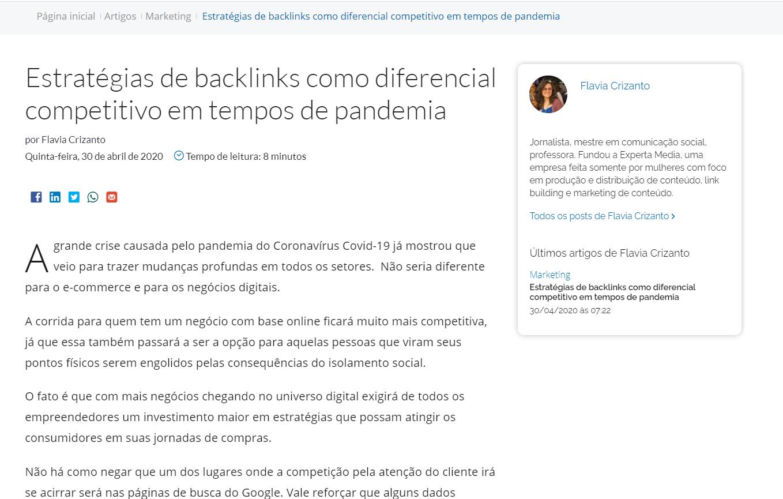 """print do artigo """"Estratégias de backlinks como diferencial competitivo em tempos de pandemia"""" publicado no site E-commece Brasil, por Flávia Crizanto"""