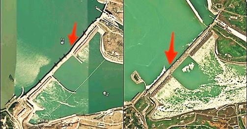 Dấu hiệu bất thường trên đập Tam Hiệp được ghi lại qua ảnh chụp vệ tinh.