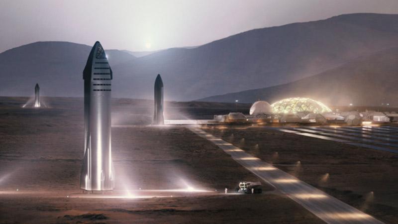 Starship despegando desde la superficie lunar para cumplir su misión a Marte.