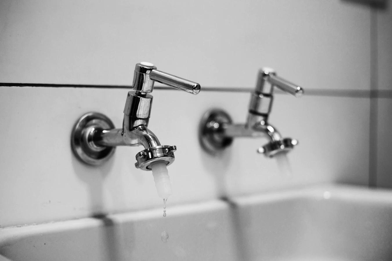 silver taps in a bathroom
