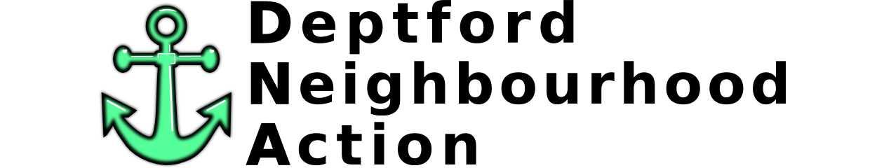 Deptford Neighbourhood Action header and anchor logo
