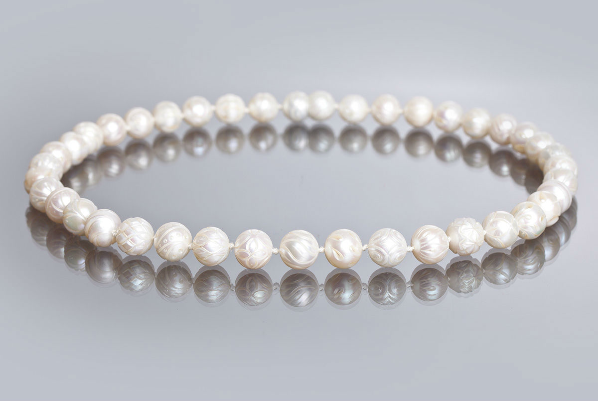 Carved Pearl Necklace by Galatea