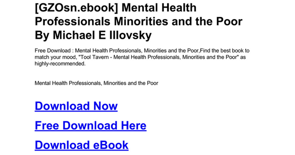 mental health professionals minorities and the poor illovsky michael e