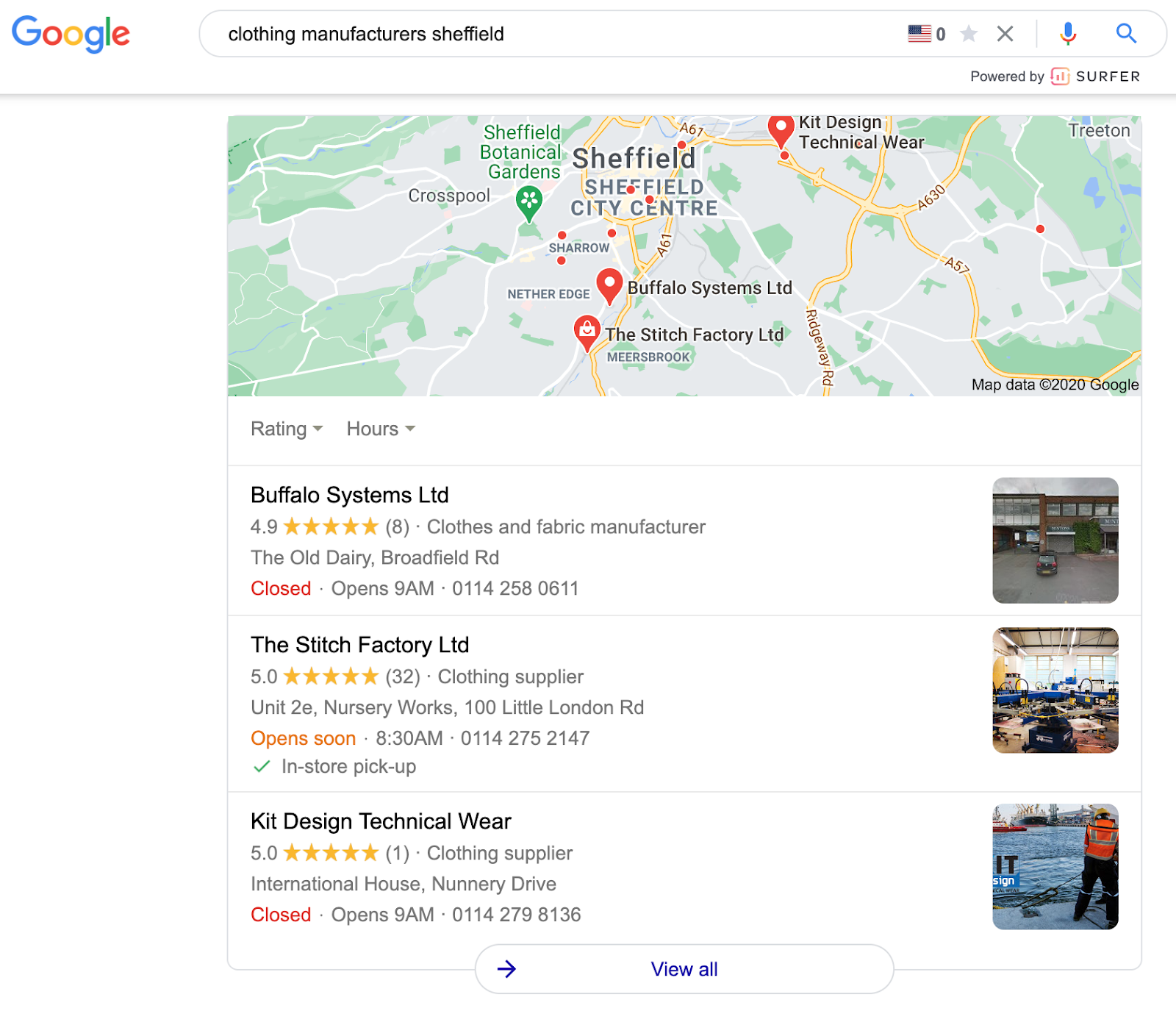 Google search for clothing manufacturers in Sheffield