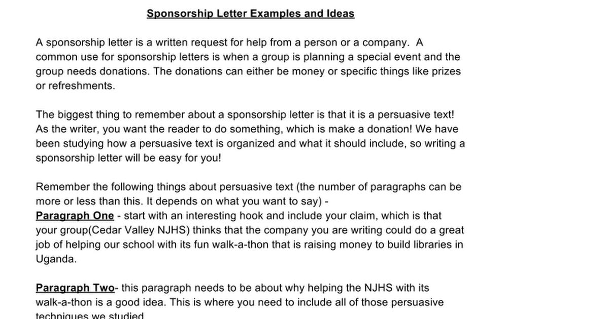 Sponsorship Letter ExamplesIdeas Google Docs