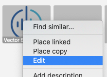 Menu with an Edit option for an object in a library of files