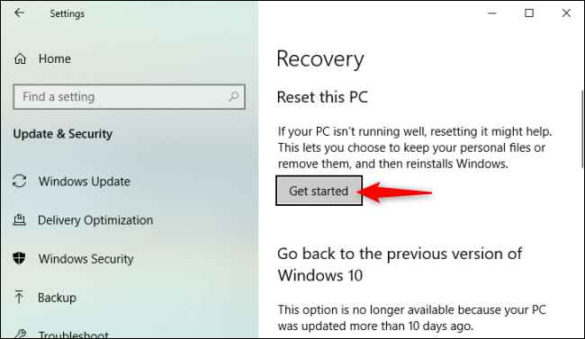 truy cập Settings > Update & Security > Recovery