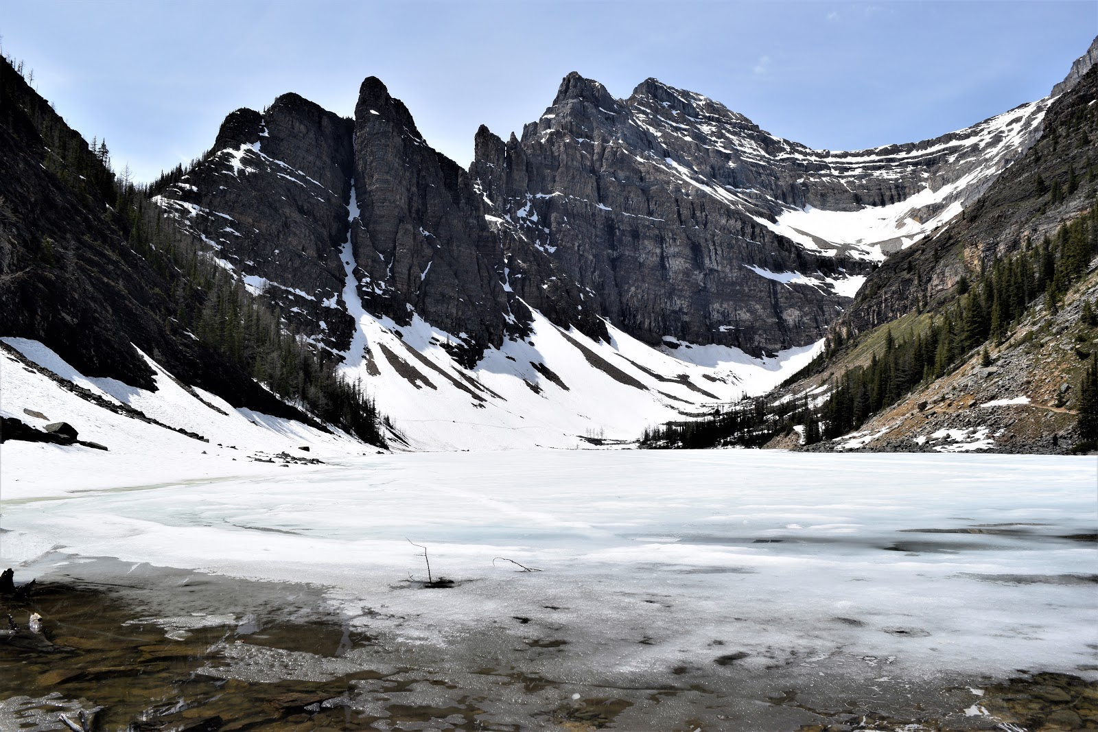 Lake Agnes frozen over in June