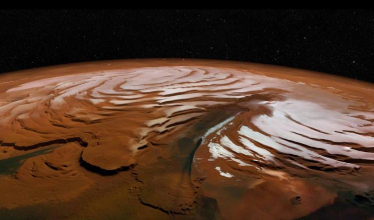 Cực bắc của Sao Hỏa nổi tiếng với đỉnh tuyết trắng xóa được nhìn thấy từ trên cao.