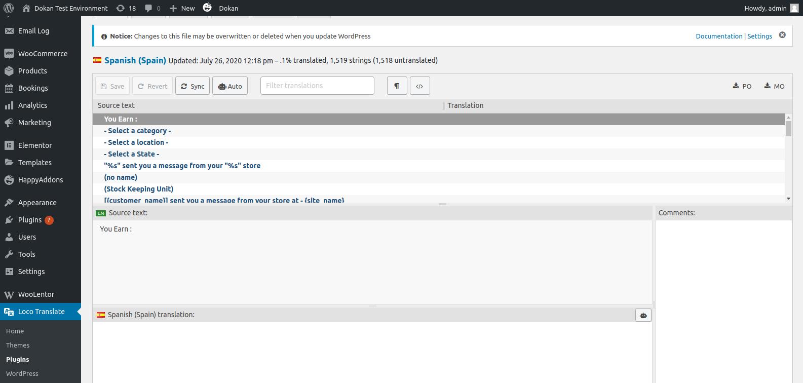 WordPress plugin translation by loco