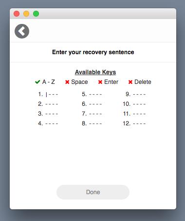 enter recovery sentence