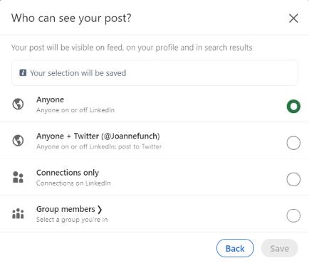 Choose Who Can See LinkedIn Post