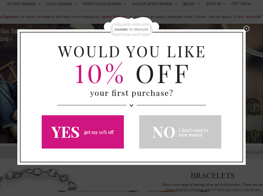 10% off on first purchase deal