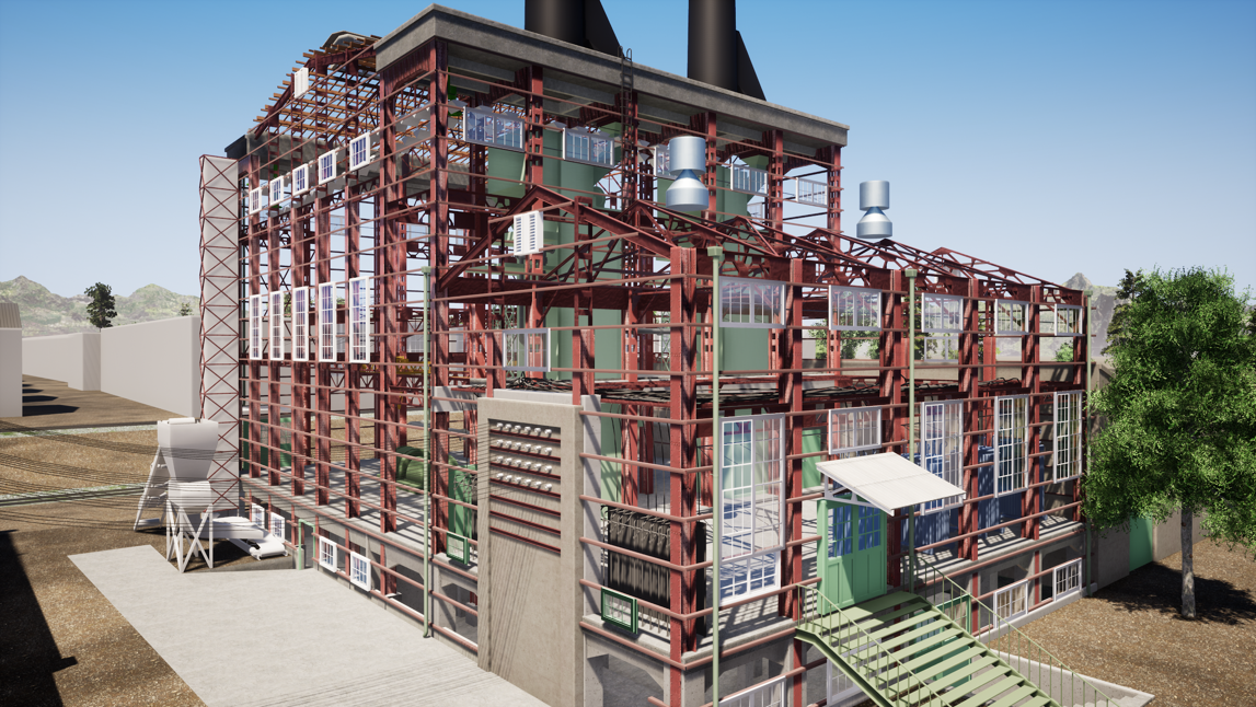 The historic power plant's exterior is modeled in SketchUp and rendered using Twinmotion