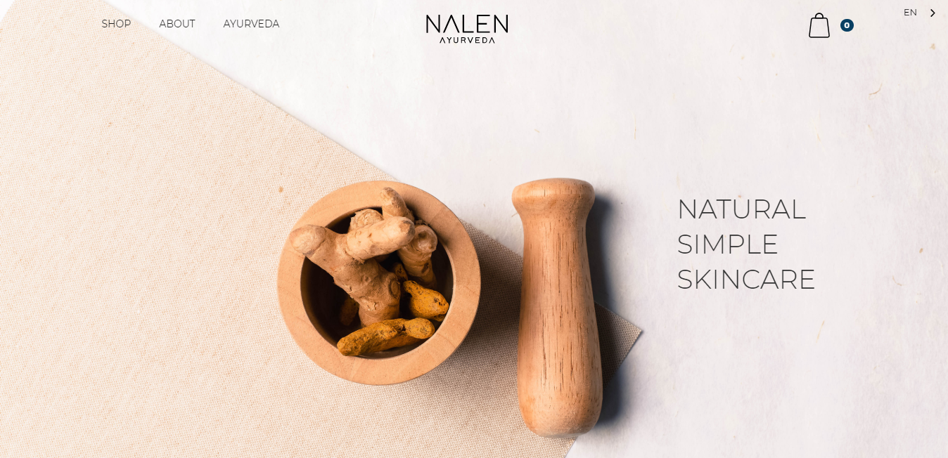 An example of a natural skincare business website with a bowl of ginger