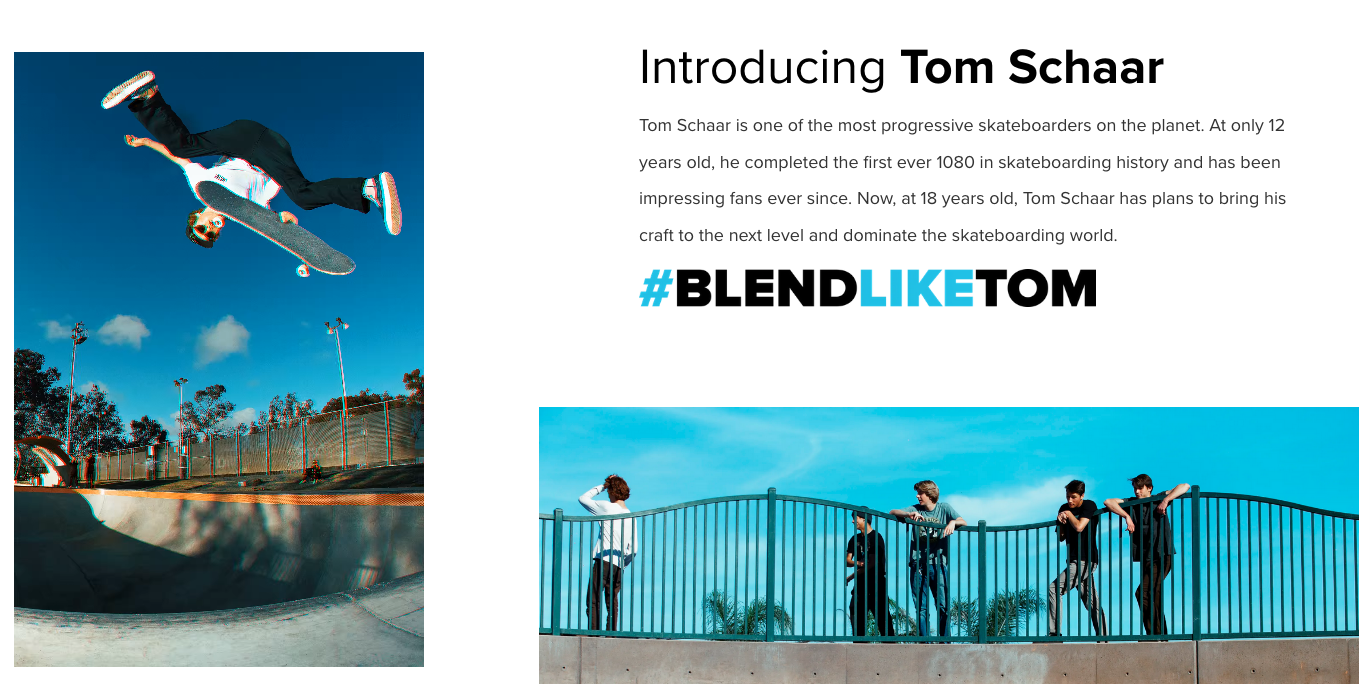 blenders landing page for skateboard demographic