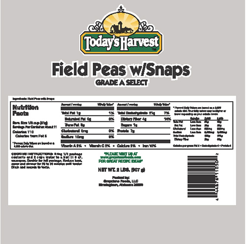Todays Harvest Field Peas w Snaps Nutrition Facts Panel
