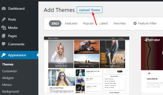 Upload a premium theme to start a blog in south africa