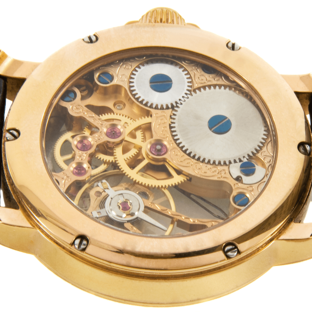 Photo of a watch with an exhibition caseback