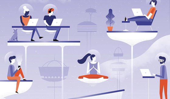 Futuristic workspace showing people working together from their own little bubbles and in different locations.