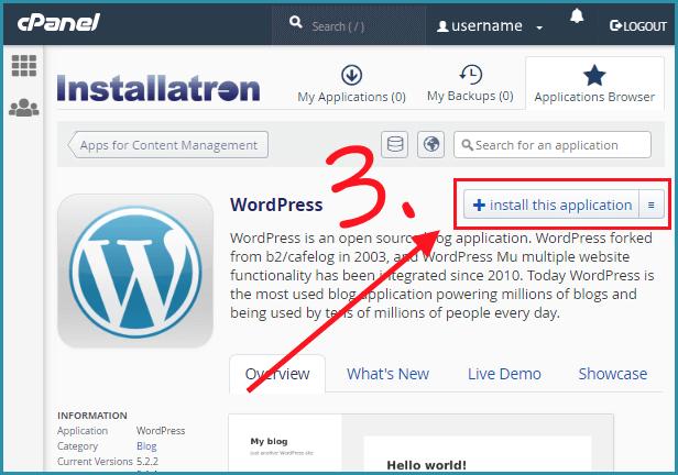 Installation of wordpress through installatron