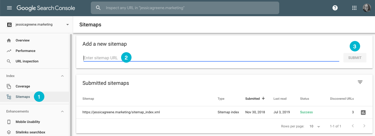submit a sitemap in google search console