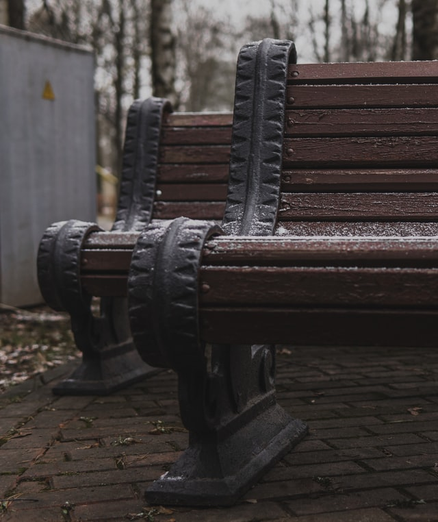 Bench(marked) with snow hehe