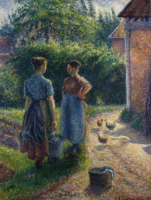 Камиль Писсарро «Крестьянки, болтающие на дворе фермы»