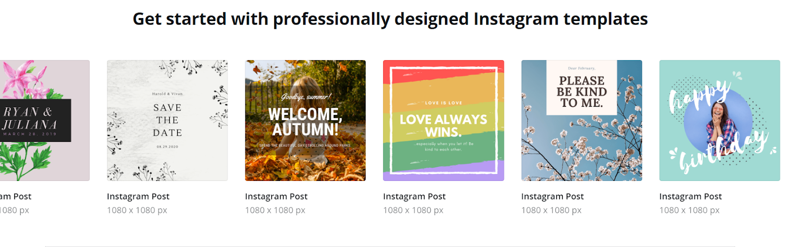photo size for instagram templates