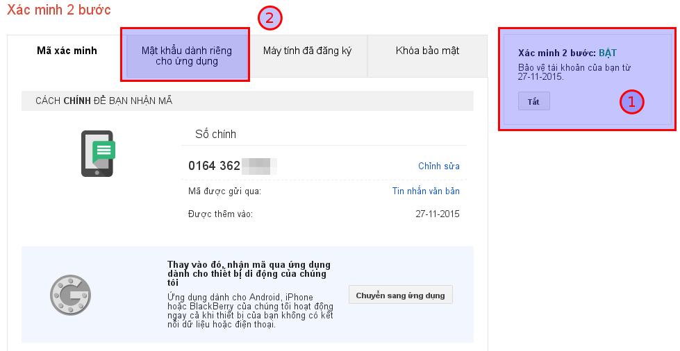 Cấu hình xác minh hai bước Google