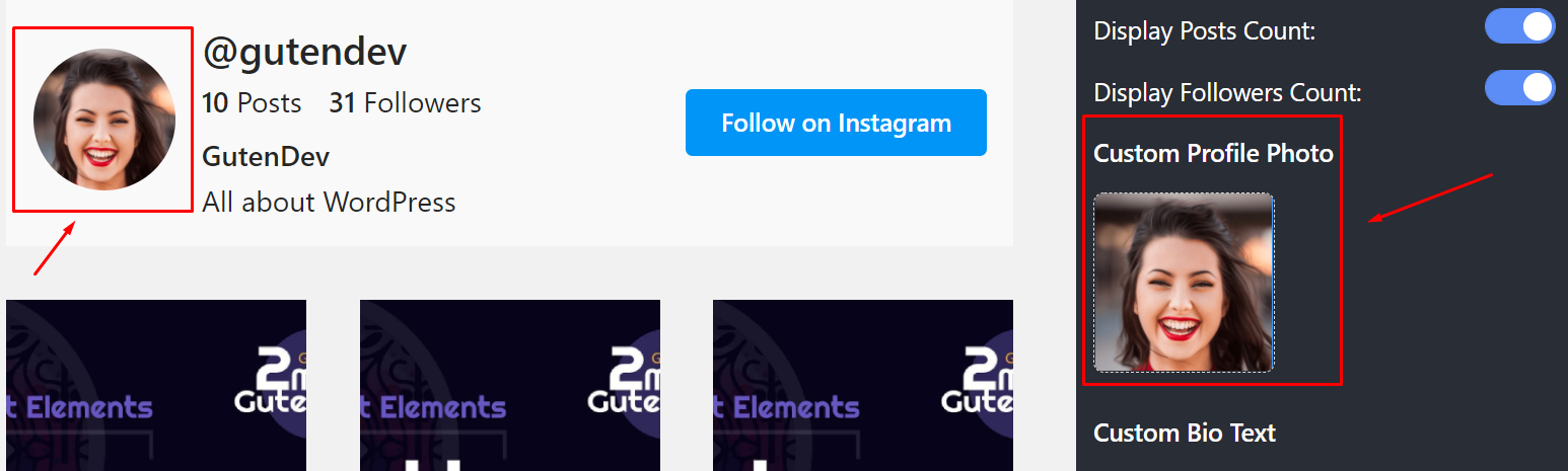 Custom profile photo Instagram settings