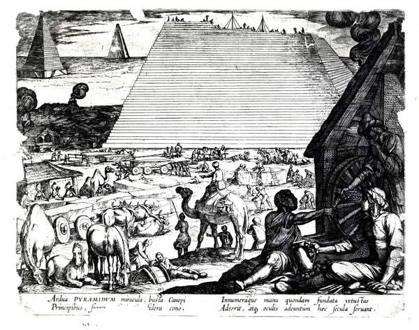 Images of The Construction of the Pyramids (engraving) (b/w photo), French School, (17th century) / French, Bibliotheque des Arts Decoratifs, Paris, France, © Archives Charmet / Bridgeman Images