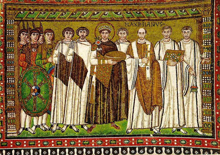 Colorful mosaic of the emperor Justinian surrounded by senators and soldiers.