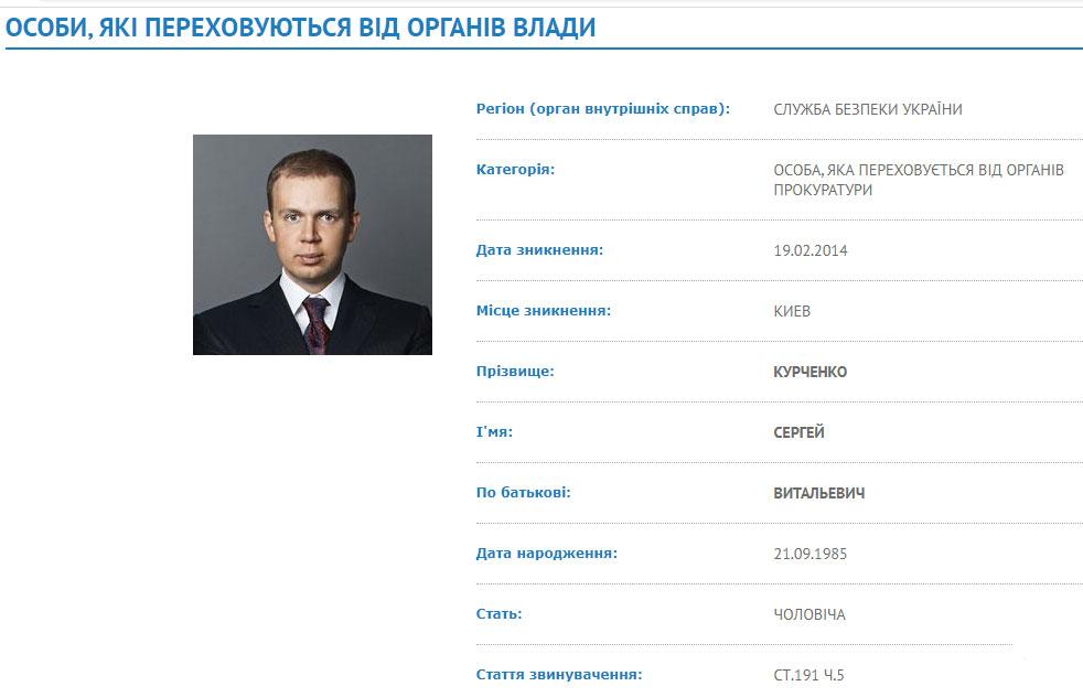 Сергій Курченко до цього часу перебуває у базі розшуку МВС України